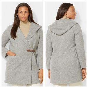 Lauren Ralph Lauren Hooded Drape Front Coat